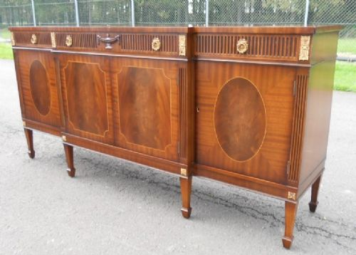 Large Georgian Style Inlaid Mahogany Breakfront Sideboard by Epstein of London